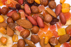 Dried fruit and nuts Royalty Free Stock Photography