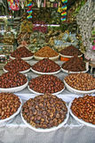 Dried Fruit and Nuts. Moroccon shop where they sell all kinds of dried food such as dades stock images