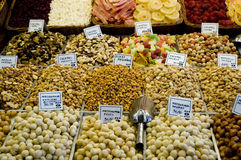 Dried Fruit and Nuts. Colorful collection of nuts and dried fruits at a spanish market Royalty Free Stock Photo