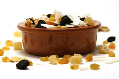 Dried fruit and nuts in a bowl Royalty Free Stock Photo