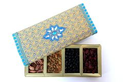 Dried Fruit and Nuts Gift Box Stock Photos