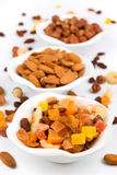 Dried fruit and nuts isolated on white. Background Royalty Free Stock Image