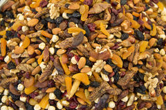 dried fruit and nuts on market Stock Photos