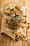 Dried fruit and nuts trail mix Royalty Free Stock Photos