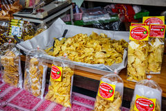 Dried fruit packed in bags for sale Royalty Free Stock Photos