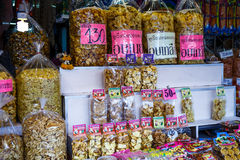 Dried fruit packed in bags for sale in the markets. BANGKOK, THAILAND - May 31: Dried fruit packed in bags for sale in the markets of Bangkok on May 31, 2015 in Royalty Free Stock Photography