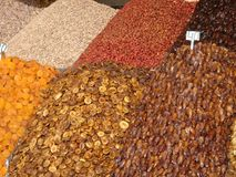 Dried fruit`s displays  in an open market to Marakkech in Maroc. Royalty Free Stock Images