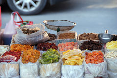 Dried fruit stall in China Royalty Free Stock Photos