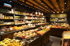 Dried fruit stand in famous Sarona food market Royalty Free Stock Photography