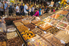 Dried fruit stand in La Boqueria, Barcelona Royalty Free Stock Image