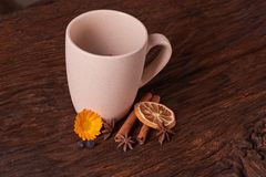 Dried fruit tea for healthy breakfast. cup of cream color and flower on wooden table. Concept of health food. Dried fruit tea for healthy breakfast. cup of cream stock photos
