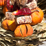 Dried fruit, vegetables and spices at the fair Stock Photography