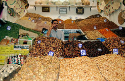 Dried fruit vendor in a Moroccan souk Stock Photography