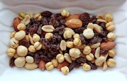 Dried fruit. In a white bowl Royalty Free Stock Photo
