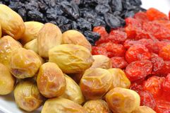 Dried Fruit on White Plate Close-Up Stock Images