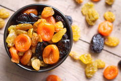 Dried fruit. On the wooden table Stock Images