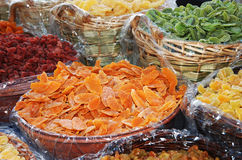 Dried fruits. On a marked in Italy Stock Photo