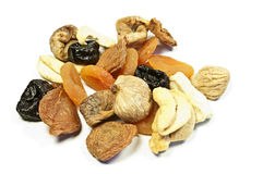 Dried fruits. Several sorts of dried fruits on white Royalty Free Stock Photography