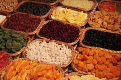Dried fruits. Assorted dried fruit delight sweets in tidy Stock Photos
