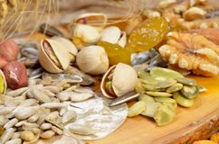 Dried fruits. And cereal seeds royalty free stock photo