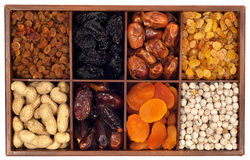 Dried fruits. Assorted dried fruits in wooden box,isolated on white background.Raisin,prune,date,monkey-nut, apricot,nuts Stock Photos