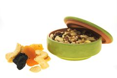 Dried fruits. In a bowl on a white background Stock Image