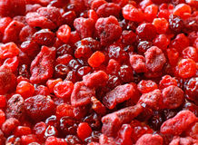 Dried fruits. Close up of the dried strawberry and cherries Stock Photography