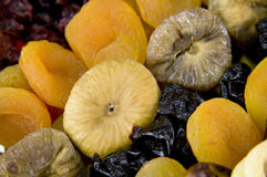 Dried fruits. Close-up of dried fruits arranged in a basket Stock Photo