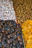 Dried Fruits. A background with a view of various dried fruits royalty free stock image