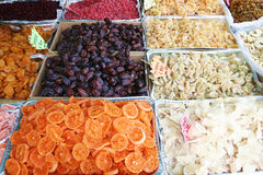 Dried fruits. A marketplace at Limone, Largo di Garda, Italy, Europe royalty free stock photos