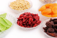 Dried fruits and almonds - symbols of judaic holiday Tu Bishvat. Royalty Free Stock Images