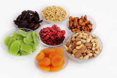 Dried fruits and almonds - symbols of judaic holiday Tu Bishvat. Stock Photo