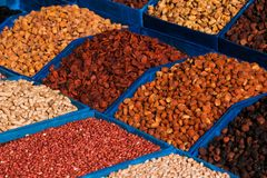Dried Fruits And Nuts Close-up. Dried Fruits And Nuts On The Market. Stock Photo