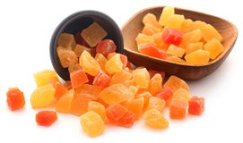 Dried fruits apricot and papaya with some others. In bowl over white royalty free stock images