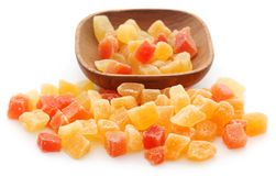 Dried fruits apricot and papaya with some others. In bowl over white stock photos