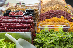 Dried fruits. An assortment of dried fruits Stock Images