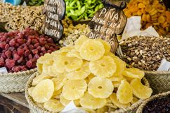 Dried fruits assortment at market Stock Images