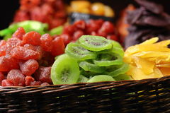 Dried Fruits In Basket Closeup At Street Food Market Royalty Free Stock Photo
