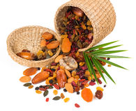Dried fruits in a basket Stock Photography