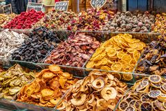 Dried fruits at the bazaar. royalty free stock image