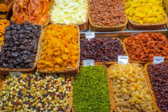 Dried fruits at the Boqueria market Royalty Free Stock Photography