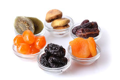Dried fruits in bowls Stock Photos