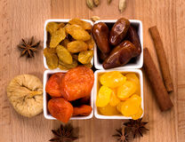 Dried fruits in a bowls top view Royalty Free Stock Image