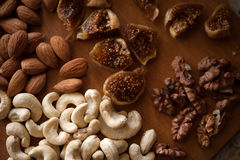 Dried fruits. Cashews, figs, almonds, walnuts Royalty Free Stock Photos