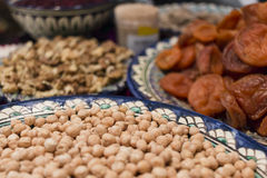 Dried fruits and chick peas Royalty Free Stock Image