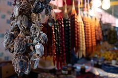 Dried fruits  and churchhella sold in the market in Tbilisi, Georgia. stock images