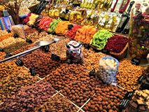 Dried fruits and colours in Boqueria Market, Barcelona, Spain. Food, nourishment, healthy lifestyle and beautiful details in a touristic location and royalty free stock photography