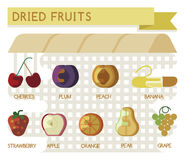Dried fruits concept. Illustrator stock illustration
