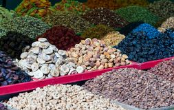 Dried fruits on the counter at the Bazaar. stock image