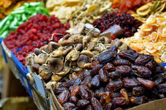 Dried fruits on display in food marke Royalty Free Stock Photography